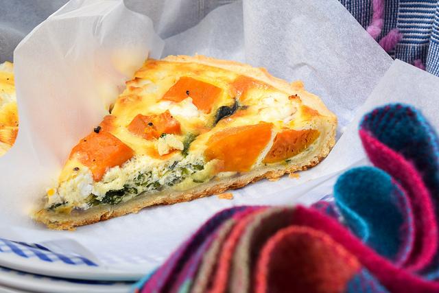 Slice of Sweet Potato, Red Onion, Spinach & Feta Quiche #picnic #summer #quiche