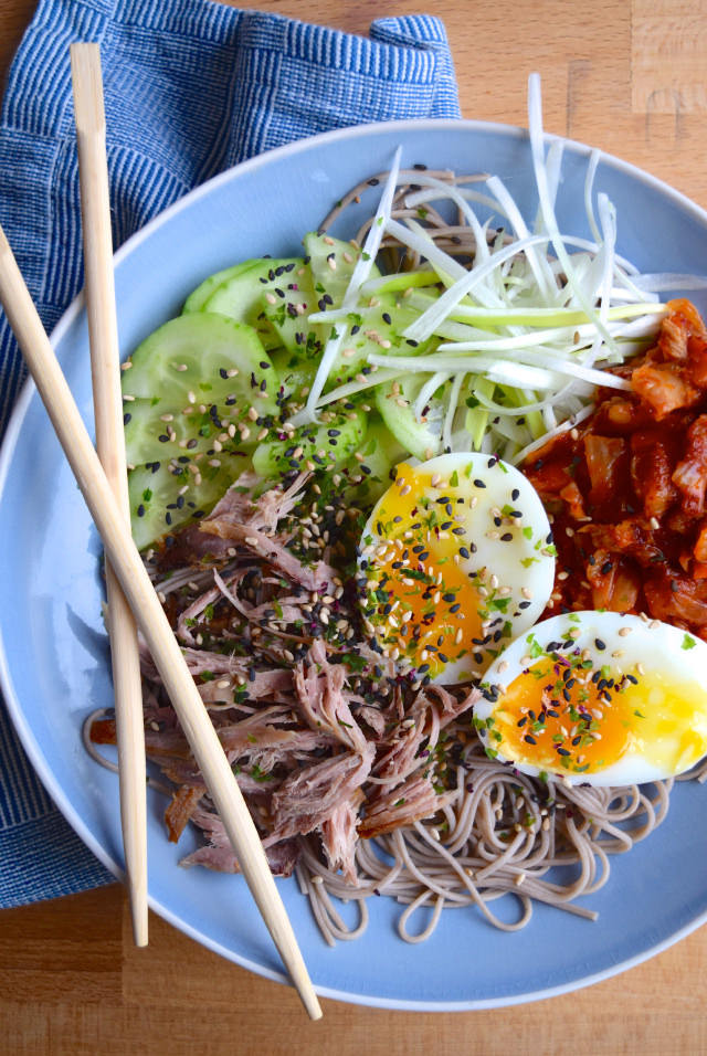 Cold Korean Noodle Bowl #bowlfood #korean #noodles #kimchee #egg