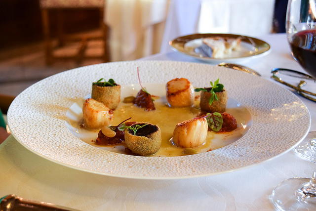 Scallops and Black Pudding at Chateau de la Treyne
