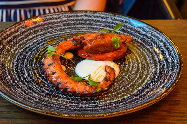 Slow Cooked Octopus with Chilli Jam and Buttermilk at The Parade Room at The Pound, Canterbury #octopus #buttermilk #canterbury