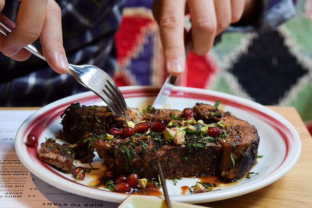 Slow Cooked Lamb Shoulder with Pomegranate and Pistachio at Ceru, Soho