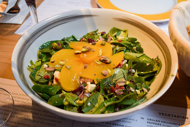 Peach, Feta and Red Onion Salad at Ceru, Soho