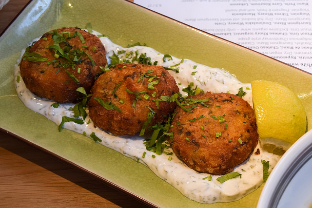 Salt Cod and Turmeric Potato Fritters at Ceru, Soho